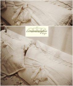 cuscini in puro lino vintage con fiocco