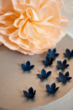 navy and peach wedding paper flowers. Photography by www.bandgphotography.com, Design by occasiontoremember.com, and Paper flowers by www.thecrimsonpoppy.com