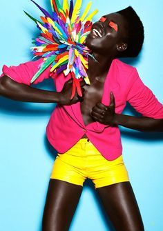 Bright, vibrant, neon, pink, yellow, colorful, eyeshadow
