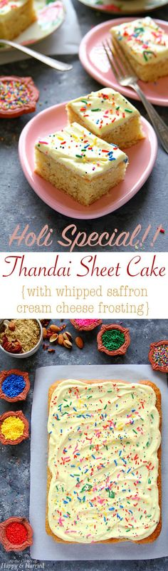THANDAI SHEET CAKE WITH WHIPPED SAFFRON CREAM CHEESE FROSTING - HAPPY&HARRIED