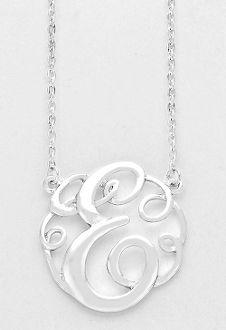 monogram initial necklace 15 letter e pendant silver chain