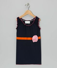 Look what I found on #zulily! Navy Rosette Dress - Toddler & Girls #zulilyfinds