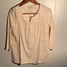 Lucky Brand Boho Style Top Cream colored boho top with 3/4 length sleeves. 100% cotton. Has dark spot in material on front seen in second photo. Excellent, new condition, price reflects flaw. No trades. Lucky Brand Tops Tees - Long Sleeve