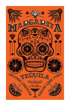 A must have item for the Margarita lover. Traditional Dia de Muerta (Day of the Dead) artwork features the traditional Margarita recipe. Perfect