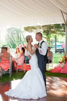 First Dance Under Tent And Cafe Lights