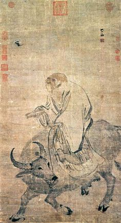 Lao-zi on an Ox. Ming dynasty, 16th C. Zhang Lu. Chinese painting.