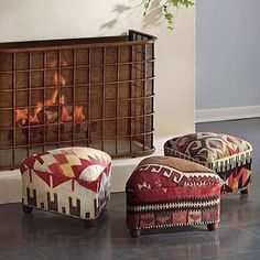 love the patterns on these turkish ottomans, Check with www.rugandrelic.com