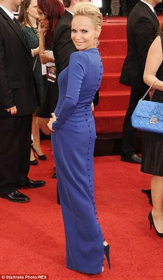 Having a blue day: Kristin Chenoweth kept her outfit simple in a bright blue column dress