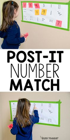 Post-It Number Match #busytoddler #toddler #toddleractivity #easytoddleractivity #indooractivity #toddleractivities #preschoolactivities  #homepreschoolactivity #playactivity #preschoolathome