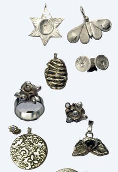 compilatie sieraden gemaakt in een workshop zilverklei bij edelsmid Marja Schilt www.marjaschilt.nl
