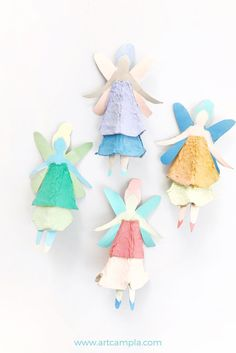 Fairies kids craft made from egg cartons.