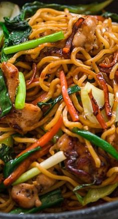 Chicken Chow Mein ~ bowlful of contrasting colors, texture and flavors coming together in different combinations with each bite... The big hunks of chicken are juicy with a caramelized glaze that's redolent of garlic and five spice. The vegetables are crispy, crunchy and flavorful, and the noodles bring everything together in a savory tangle of al dente curls.