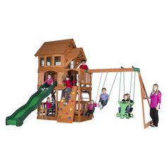 Backyard Discovery Liberty All Cedar Wood Playset With Swings 44215Com