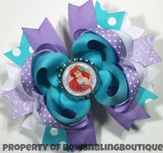 Ariel Hair Bow Little Mermaid Hairbow Disney Princess Boutique Hairbows Little Mermaid Bow Funky hair bow Disney bows