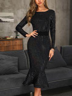 c144e98a4a2 Glitter Stud Detail Long Sleeve Fishtail Dress