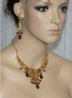Maroon polki stone necklace set