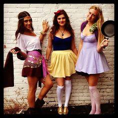 Disney Princess Halloween Costumes: Esmerelda, Snow White, and Rapunzel