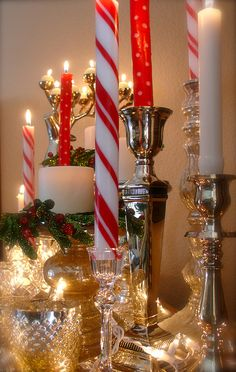 Christmas candles, polka dots and stripes.