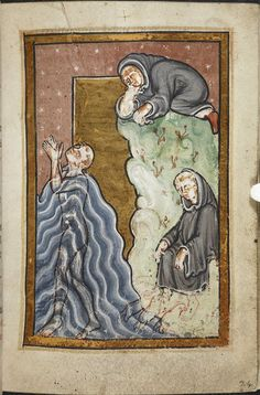 (Don't miss the otters, lower right. rw) Miniature of (lower left) Cuthbert praying in the sea, and, after he has finished (lower right), otters coming to warm and dry his feet with their breath and fur, while (above), another monk secretly watches the miracle, from Chapter 10 of Bede's prose Life of St Cuthbert, England (Durham), 4th quarter of the 12th century, Yates Thompson MS 26, f. 24r