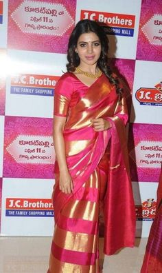 We Love Samantha And Her Style !... Samantha's style can be best described ad artsy and contemporary with an ethnic twist – she's always seen in the simplest of drapes looking ravishing as ever. Seen here in a pink with bold gold stripes saree, she stuns us... Get similar look at https://www.estrolo.com/inspirationapp/love-samantha-style/