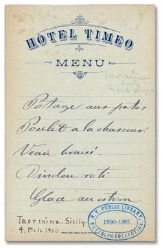 Menu from the Hotel Timeo in Taormina, Sicily from 1900.