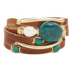 Taylor and Tessier Farmers Daughter Bracelet ($245) ❤ liked on Polyvore featuring jewelry, bracelets, 14k bangle, snap button jewelry, bohemian bangles, leather jewelry and bohemian jewelry