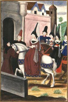 «Entrée de Madame la Dauphine Marguerite Stuart femme de Louis Dauphin de France, depuis le Roy Louis XI a Tours en Juin 1436. Suivie de Madame de la Roche & de plusieurs autrs Dames. Les Sgrs de Maillé & de Gamache estant a pied prirent sa haquenée des deux costez à l'entrée de la Ville & la conduisirent jusqu'au Chasteau ou estant descendue Mr de Vendosme & un Comte d'Escosse...» [BnF, Est. RESERVE Oa-14-Fol., Fol. 8. Bouchot, 531] -- Copie de Chroniques du roi Charles VII Ms Fr 2691…