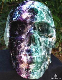 Giant Iridescent Titan Skull Made from Rainbow Fluorite Crystal.