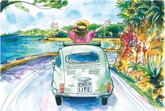 Fiat 500, Watercolor Cards, Watercolor Paintings, Cap D Antibes, Enjoying Life, Sketches, Drawings, Free, Arches Watercolor Paper