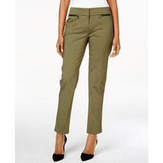 Nine West Zip-Pocket Straight-Leg Pants featuring polyvore, women's fashion, clothing, pants, olive, nine west pants, nine west, olive green pants, army green pants and white pants