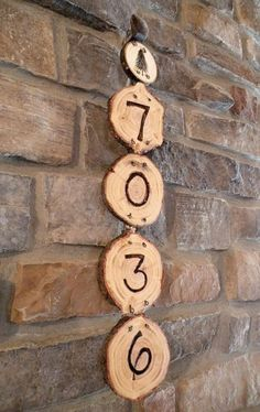 House Number Burned into Log Cross Sections