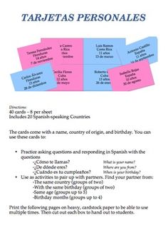 The cards come with a name, country of origin, age, and birthday. You can use these cards to: Practice asking questions and responding in Spanish or for grouping... Click for more details or to purchase