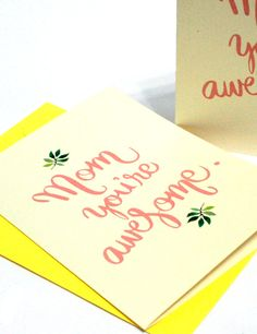 Free printable Mother's Day card in brush lettering - by the Happy Hands Project