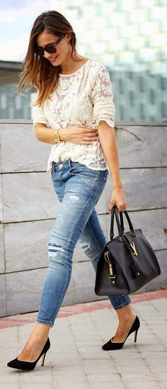 White Crochet Lace with Skinny Jeans in Denim Blue and Black Leather Handbag or Heels Pumps
