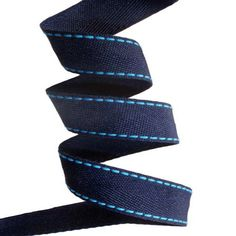 Blue navy herringbone tape with turquoisestitches of cords 25mm