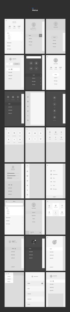 Menu Wireframe Templates