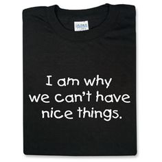 I Am Why We Can't Have Nice Things.  $14.99 adult, $12.99 kids size at ThinkGeek.