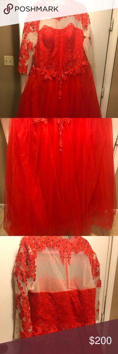 Red mesh flower pattern plus size prom dress Bright red long mesh prom dress Dresses Prom