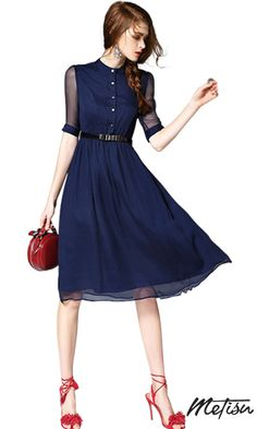 Blue Buttons Front Belted A-line Midi Dress - Metisu