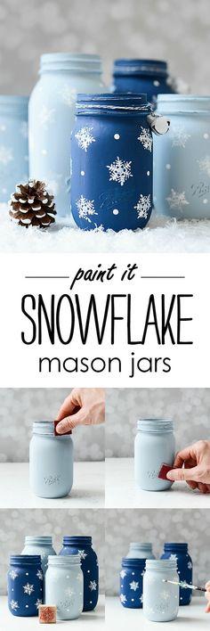 Christmas Crafts - Snowflake Mason Jars - Stamped Snowflake Painted Mason Jars All Started With. Pot Mason Diy, Mason Jar Gifts, Gift Jars, Crafts With Mason Jars, Pots Mason, Christmas Jars, Christmas Decorations, Homemade Christmas, Snowflake Decorations