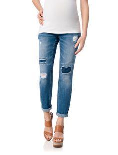 Rip Repair // Motherhood Maternity // Secret Fit Belly Boyfriend Maternity Jeans