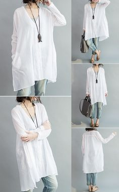 f26a2136bafac Casual Women Loose White Cotton High Low Blouse can cover your body well
