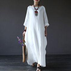 c19643eb56b Dress - Women Printing Cotton Linen Loose Dress Plus Size Fashion