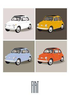 Retro Fiat 500 - cinquecento fine art print poster, italian design icon car, office decor