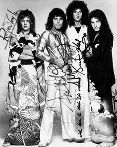 QUEEN - Freddie Mercury, Brian May, Roger Taylor & John Deacon - Signed Photo