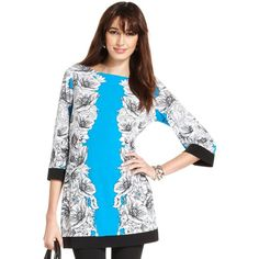 Style Top, Three-Quarter-Sleeve Printed Tunic ($39) found on Polyvore