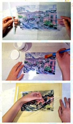 Image transfer with inkjet transparencies. http://nonphotography.com/blog/photo-craft-projects/image-transfer/image-transfer-with-inkjet-transparencies/