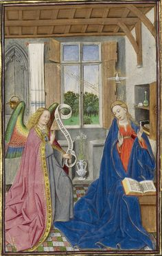 The Annunciation, c. from The Llangattock Hours. By an illuminator who… Catholic Art, Religious Art, Saint Gabriel, Art Through The Ages, Renaissance Artists, Getty Museum, European Paintings, Book Of Hours, Medieval Art