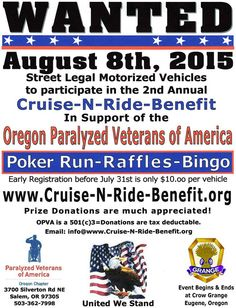 Eugene, OR - Aug. 8, 2015: Cruine-n-Ride Benefit for Paralyzed Veterans of America.