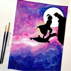 hey, i found this really awesome etsy listing - painting disney Disney Diy, Art Disney, Disney Crafts, Disney Couples, Disney Canvas Paintings, Disney Canvas Art, Watercolor Disney, Watercolor Art, Aladin Disney